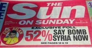 Βρετανική εφημερίδα Sun: «αποκλειστικό γκάλοπ, 52% λέει βομβαρδίστε τη Συρία τώρα για τον Αϊλάν»